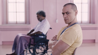 """(from left) Samuel L. Jackson as Elijah Price/Mr. Glass and James McAvoy as Kevin Wendell Crumb/The Horde in """"Glass,"""" written and directed by M. Night Shyamalan."""